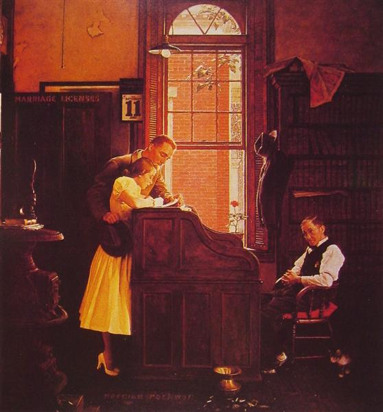 Marriage License, 1935 - Norman Rockwell