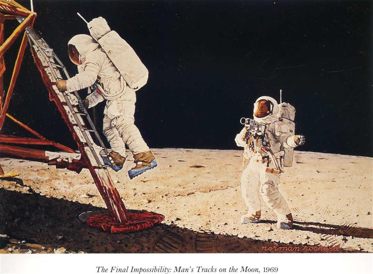 The Final Impossibility: Man's Tracks on the Moon, 1969 - Norman Rockwell