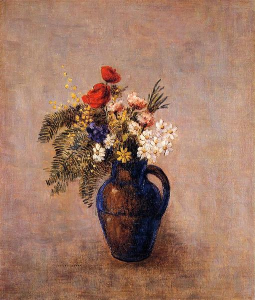 Bouquet of Flowers in a Blue Vase, c.1907 - Odilon Redon