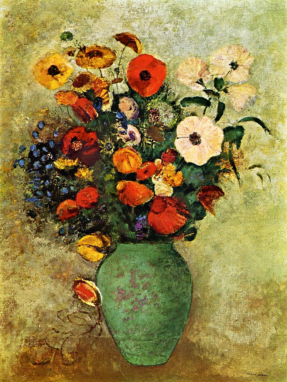 Bouquet Of Flowers In A Green Vase Odilon Redon