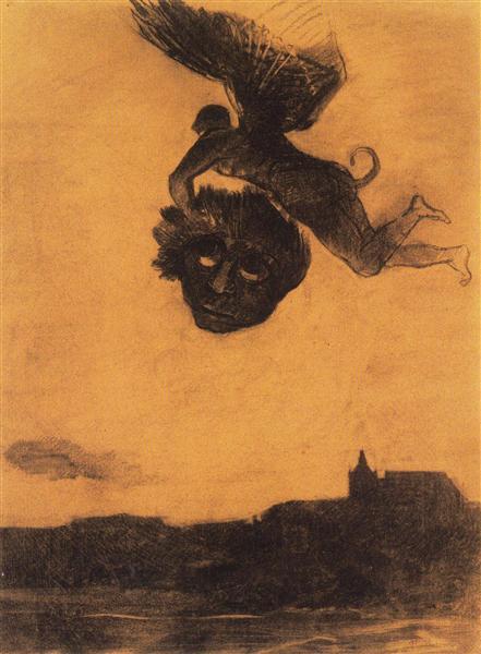 Devil take a head in the air, 1876 - Odilon Redon