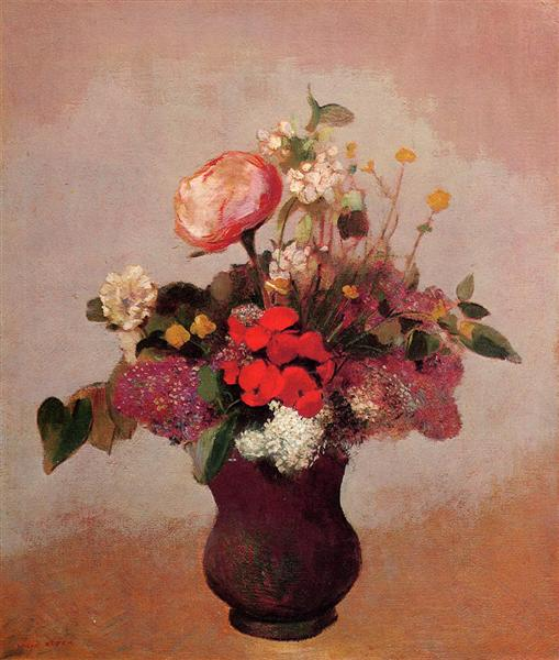 Flowers in aa Brown Vase, c.1904 - Odilon Redon