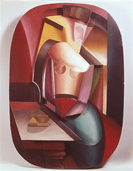 In the Cafe (Woman with Cup), 1915 - Olexandr Archipenko