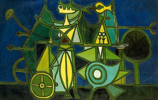 Composición con Fondo Azul, 1949 - Oscar Dominguez