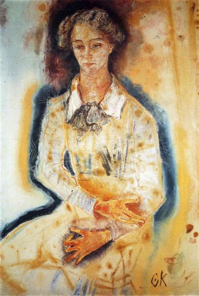Portrait of Lotte Franzos, 1909 - Oskar Kokoschka