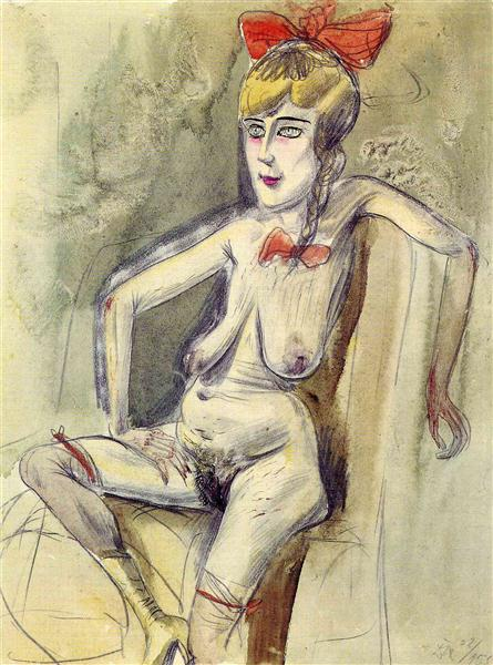 Prostitute -- Girl with Red Bow - Otto Dix