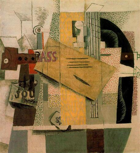 Clarinet, bottle of bass, newspaper, ace of clubs - Pablo Picasso
