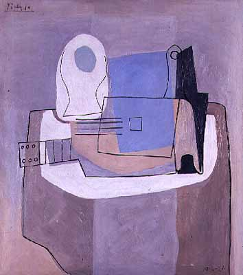 Guitar, Bottle and Fruit Bowl - Pablo Picasso