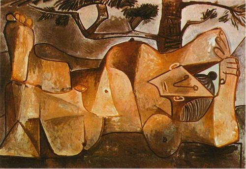 Lying female nude under the pine tree - Pablo Picasso
