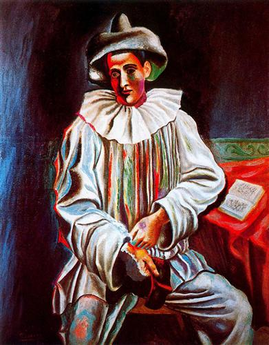 Pierrot with a mask - Pablo Picasso