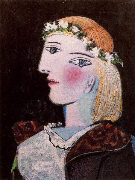 Portrait of Marie-Thérèse Walter with garland, 1937 - Пабло Пикассо