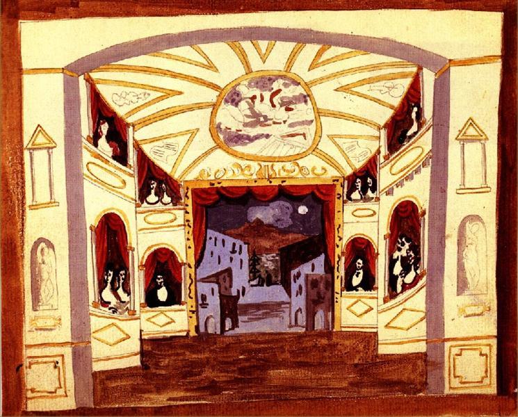 """Scene design for """"Pulcinella"""", 1920 - Pablo Picasso"""
