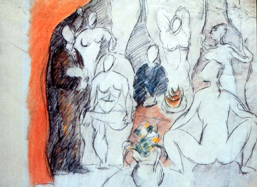 The Girls Of Avignon Study 1907 Pablo Picasso Wikiart Org
