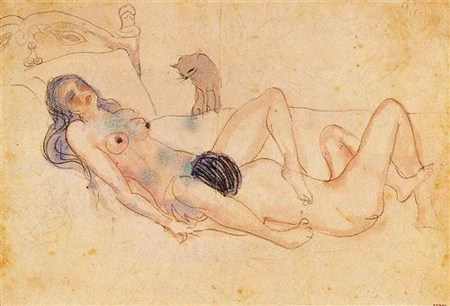 Two nudes and a cat - Pablo Picasso