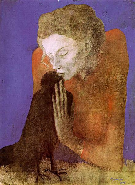 Woman with raven, 1904 - Pablo Picasso