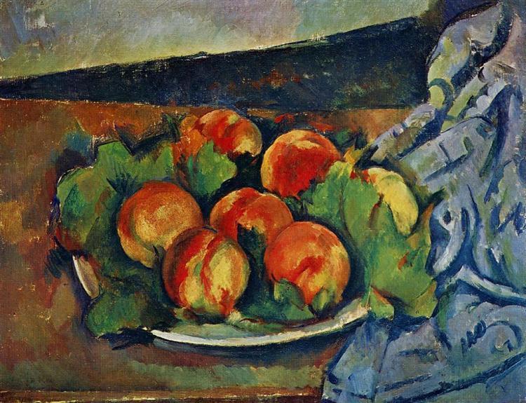 Dish of Peaches, c.1894 - Paul Cezanne