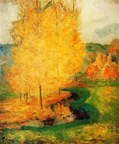 By the Stream, Autumn - Paul Gauguin