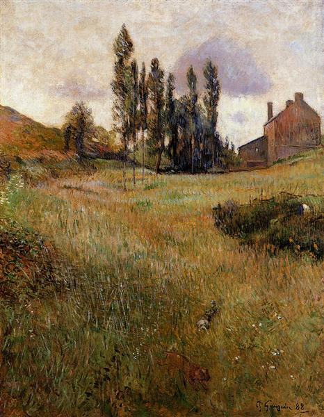 Dogs running through a field, 1888 - Paul Gauguin
