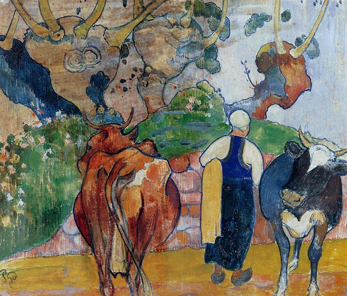 Peasant Woman and Cows in a Landscape, 1890 - Paul Gauguin