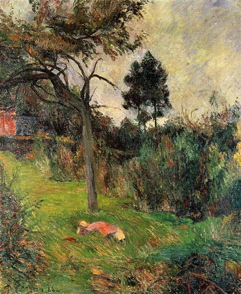 Young woman lying in a grass, 1884 - Paul Gauguin