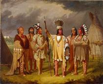 Big Snake, Chief of the Blackfoot Indians, Recounting his War Exploits to Five Subordinate Chiefs - Paul Kane