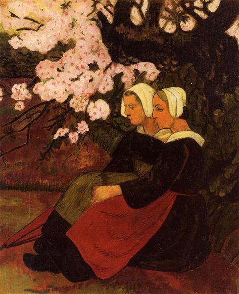 Two Breton Women under a Flowering Apple Tree, 1890 - Paul Serusier