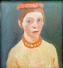 Self portrait with red flower wreath and chain - Paula Modersohn-Becker