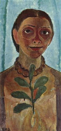 The painter with camellia branch (Self Portrait) - Paula Modersohn-Becker