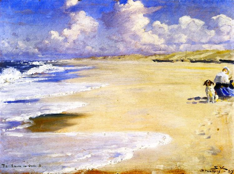 Marie Kr 248 Yer Painting On The Beach At Stenbjerg 1889