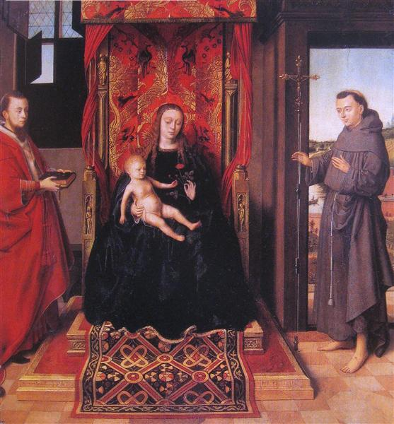 The Virgin and Child Enthroned with Saints Jerome and Francis, 1458 - Petrus Christus