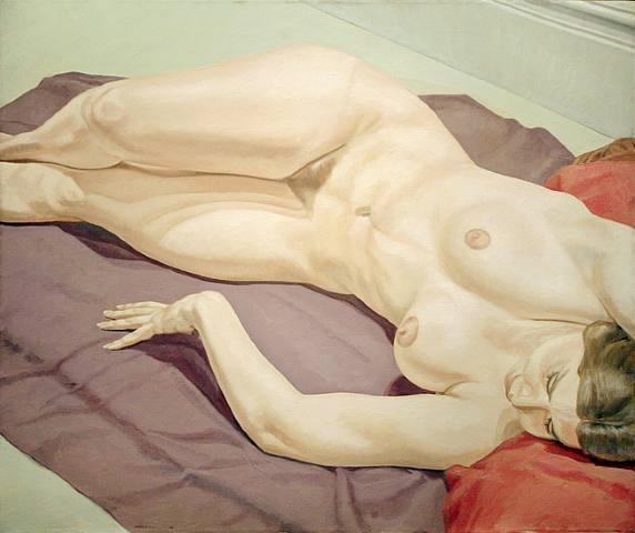 Lying Female Nude on Purple Drape, 1968 - Philip Pearlstein