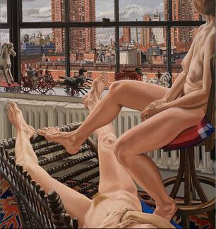 Two Models in a Window with Cast Iron Toys, 1987 - Philip Pearlstein