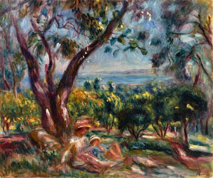 Cagnes Landscape with Woman and Child, 1910 - Pierre-Auguste Renoir
