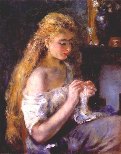 Girl crocheting, c.1875 - Pierre-Auguste Renoir
