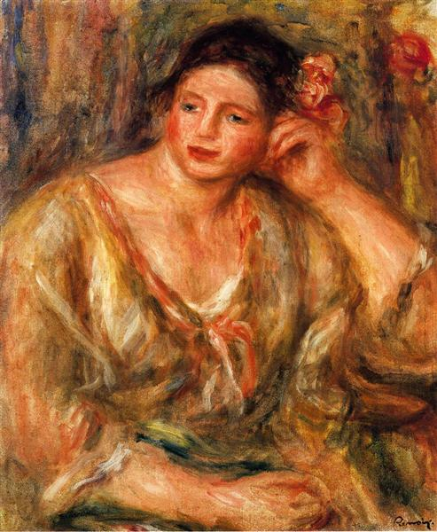 Madeleine Leaning on Her Elbow with Flowers in Her Hair, 1918 - Pierre-Auguste Renoir