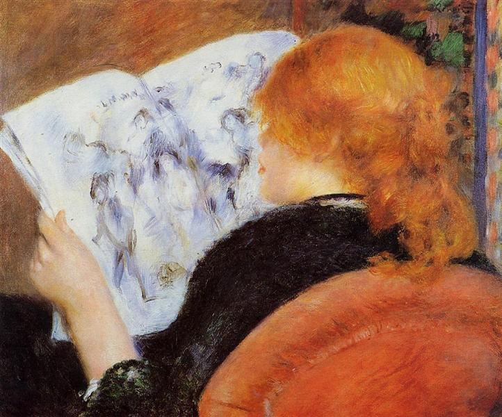 Young Woman Reading an Illustrated Journal - Pierre-Auguste Renoir