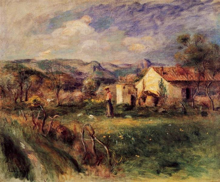 Landscape Woman under a Tree - Renoir - oil painting