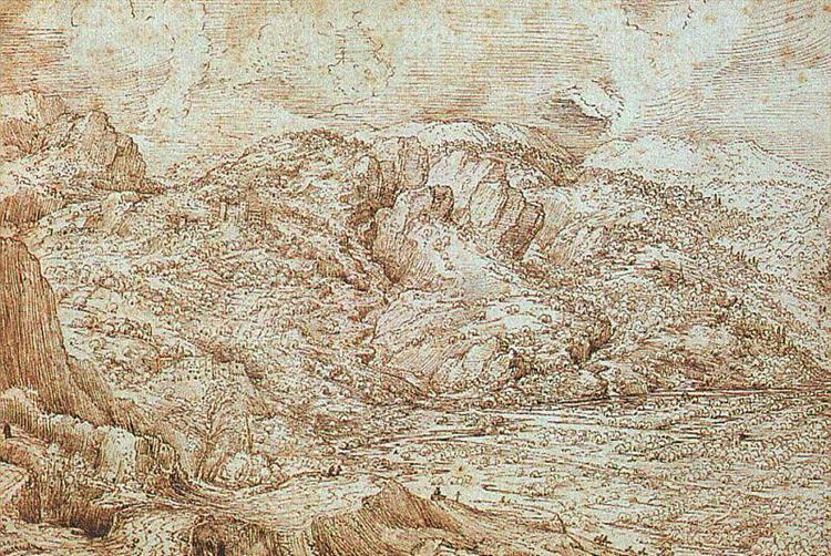 Landscape of the Alps - Bruegel the Elder Pieter