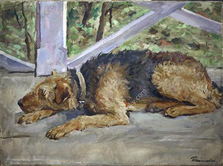 Airedale on the balcony, 1935
