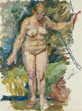 Nude on a background of green. Sketch for painting 'Woman at the creek', 1928 - Pyotr Konchalovsky