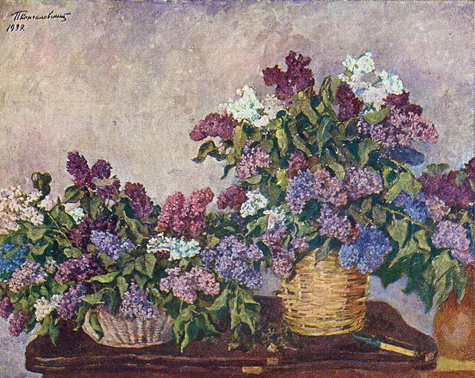 Still Life. Lilacs in two baskets., 1939