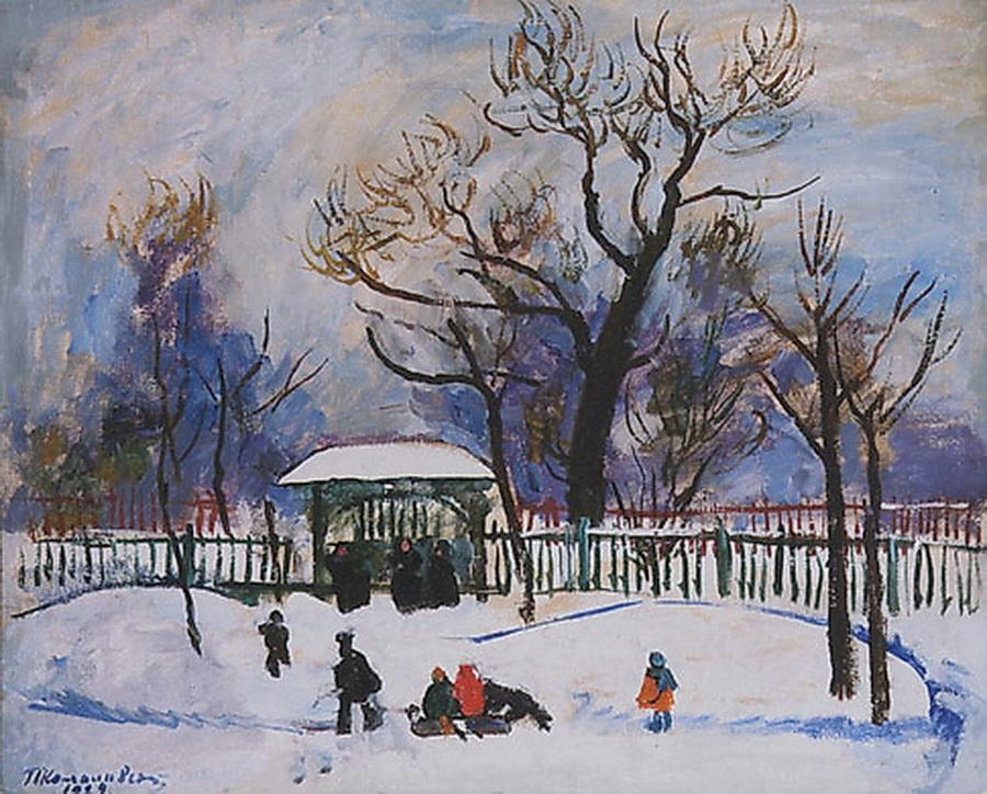 Winter. Playing children., 1929