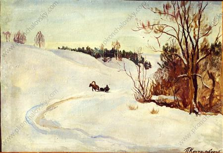 Winter road. The evening., 1931