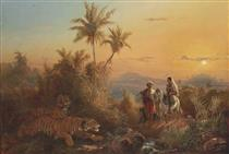 Javanese Landscape, with Tigers Listening to the Sound of a Travelling Group - Raden Saleh