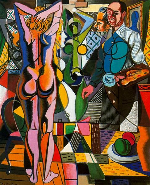 Self-portrait with model and the still life, 1955 - Rafael Zabaleta
