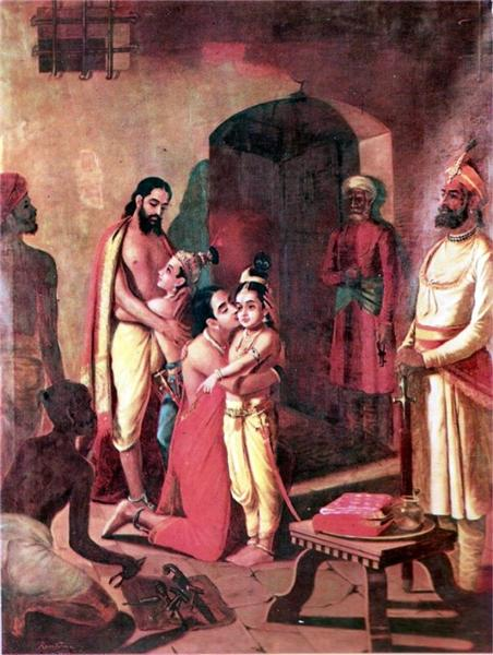 Krishna meets parents - Raja Ravi Varma