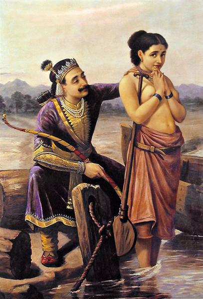 Santhanu and Matsyagandhi, 1890 - Raja Ravi Varma
