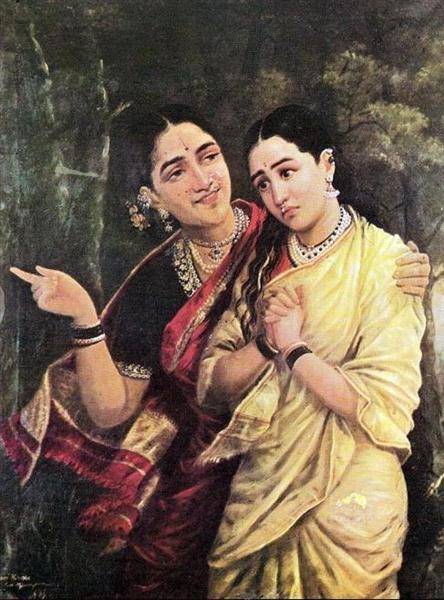 Simhika and Sairandri - Raja Ravi Varma