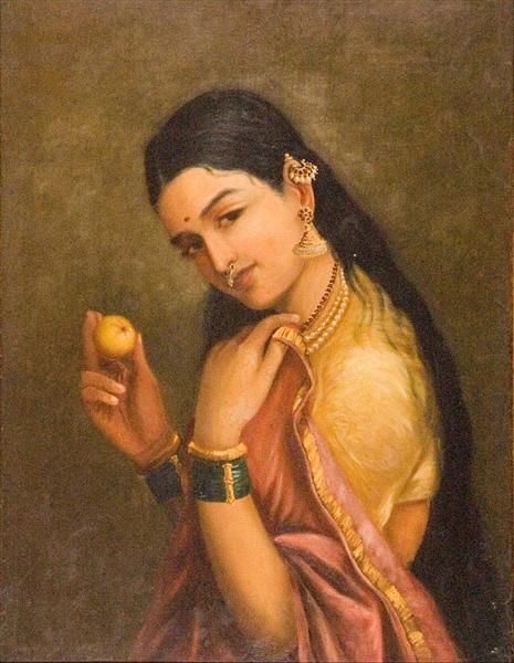 Woman Holding a Fruit - Raja Ravi Varma