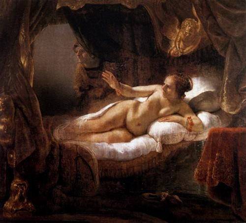 Danae, by Rembrandt. a life-sized depiction of the character Danae from Greek mythology. ...from the collection of Pierre Crozat which since the 18th century has resided in the Hermitage Museum, St. Petersburg, Russia.